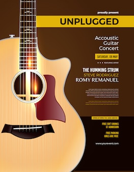 Cartel de concierto de guitarra acústica desconectado