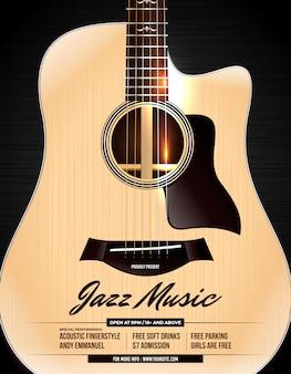 Cartel de concierto de jazz de guitarra acústica desconectado
