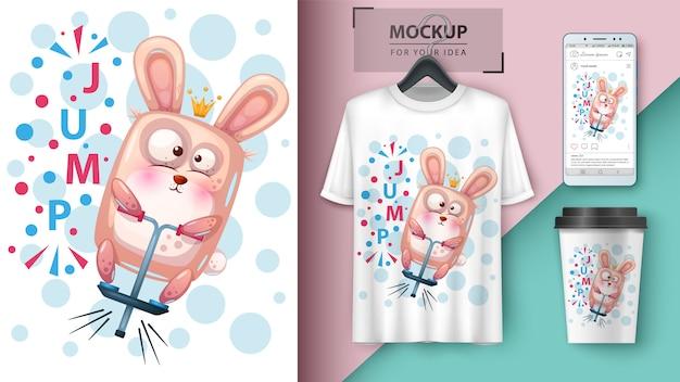 Cartel de conejo deportivo y merchandising.