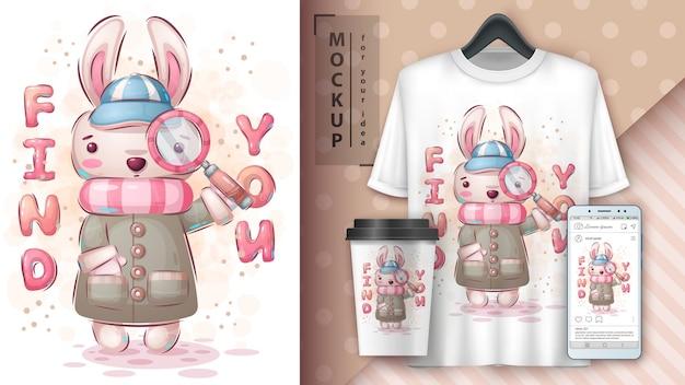 Cartel de conejo detective y merchandising.