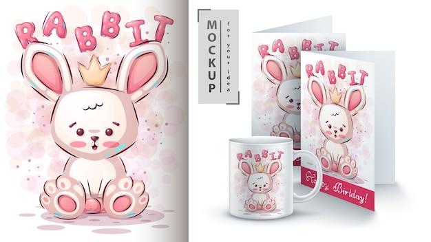 Cartel de conejo de peluche y merchandising