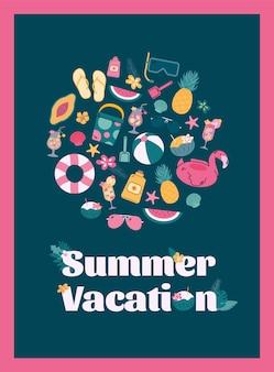 Cartel con un conjunto de coloridos elementos de playa tropical para las vacaciones de verano