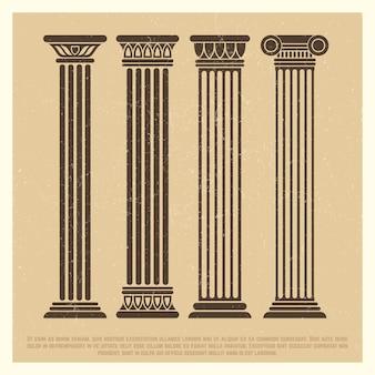 Cartel con conjunto de columnas antiguas.