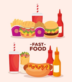 Cartel, conjunto de deliciosa comida rápida.