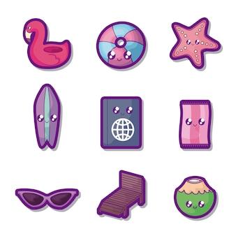 Cartel conjunto de vacaciones de verano iconos