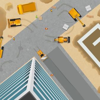 Cartel de construcción vista superior