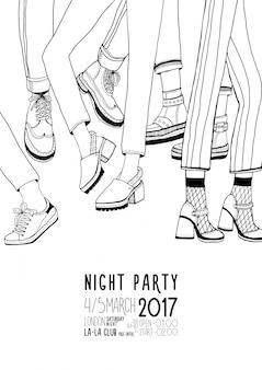 Cartel de contorno dibujado a mano fiesta de noche con piernas bailando. danza, evento, festival cartel de ilustración.