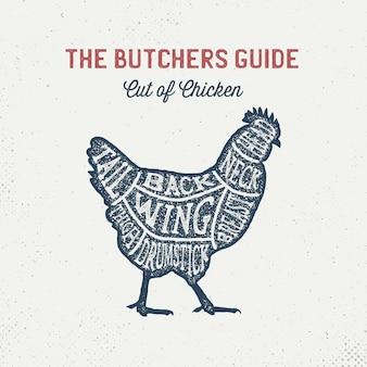Cartel de corte de pollo en esquema