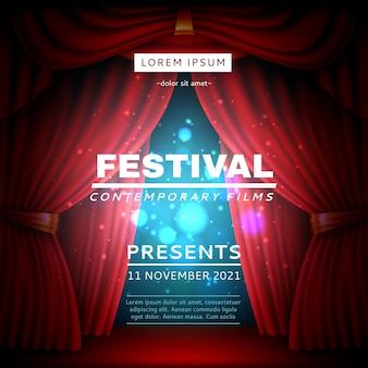 Cartel de cortina de escenario. banner de apertura del festival con velos teatrales pesados rojos realistas, puntos de luz y efectos, evento de películas de cine en concepto de vector de escena