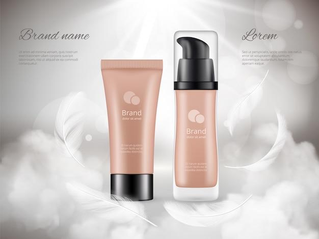 Cartel de cosméticos. crema para la piel botellas de plástico noche nubes plumas vapor lujo promocional publicidad realista