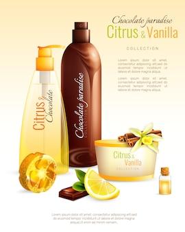 Cartel de cosméticos hechos a mano con ingredientes nutritivos