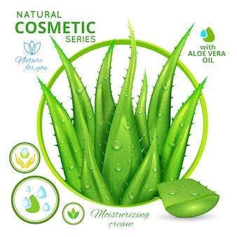 Cartel de cosméticos naturales de aloe vera