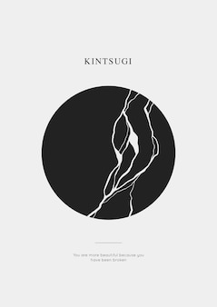 Cartel de crack de círculo de kintsugi con frase de motivación