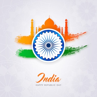 Cartel creativo del día de la república de la india con la mezquita taj mahal