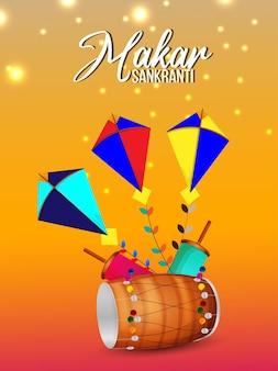 Cartel creativo de makar sankranti con cometas de colores y tambor