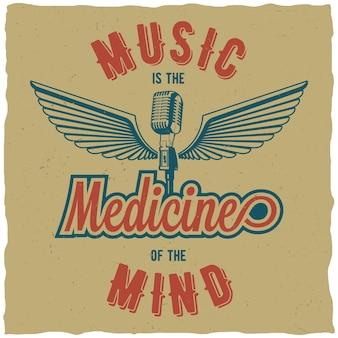 Cartel creativo de tres colores con palabras, la música es la medicina de la mente.