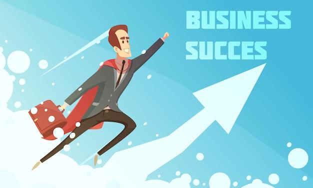 Cartel del crecimiento de la historieta simbólica del éxito empresarial con los empresarios sonrientes que suben para arriba aumentando el fondo gráfico de la flecha