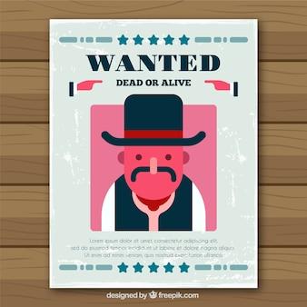 Cartel de criminal de western en diseño plano
