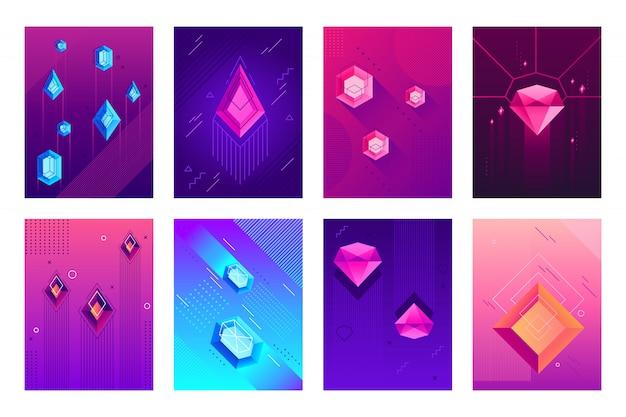 Cartel de cristales abstractos. piedras preciosas de cristal de joya, gemas de diamantes de joyas y carteles de gemas hipster conjunto de fondo aislado