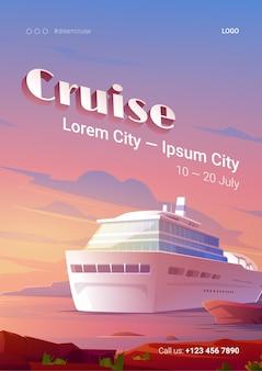 Cartel de crucero de verano con barco en el océano al atardecer.