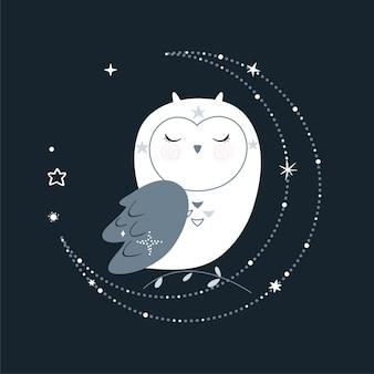Cartel de cuento de hadas lindo con búho espacial, estrellas y elementos de diseño. ilustración.