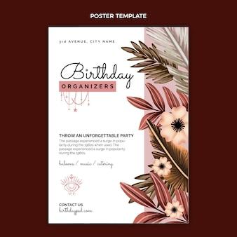 Cartel de cumpleaños de acuarela boho