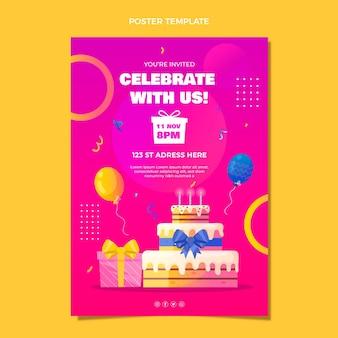 Cartel de cumpleaños colorido degradado