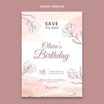 Cartel de cumpleaños dibujado a mano en acuarela