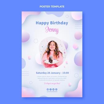 Cartel de cumpleaños fluido abstracto degradado