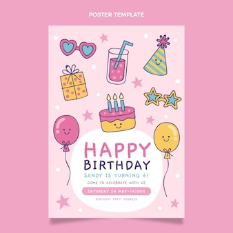 Cartel de cumpleaños infantil dibujado a mano