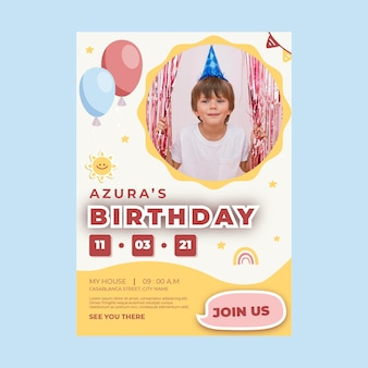 Cartel de cumpleaños infantil