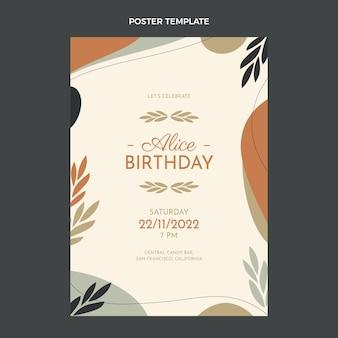 Cartel de cumpleaños minimalista de diseño plano