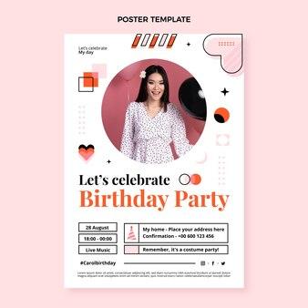 Cartel de cumpleaños de mosaico de diseño plano
