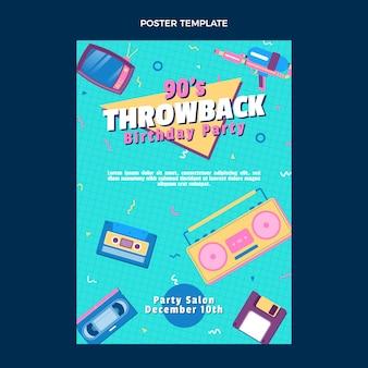 Cartel de cumpleaños nostálgico de los años 90 de diseño plano