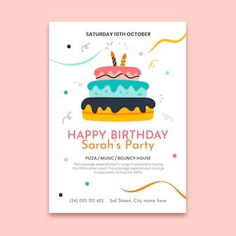 Cartel de cumpleaños con plantilla de pastel