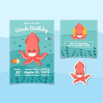 Cartel de cumpleaños con tema de calamar