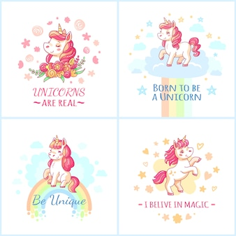 Cartel de cumpleaños de unicornio de personajes de colores de hadas.