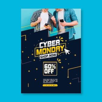 Cartel de cyber monday con descuento