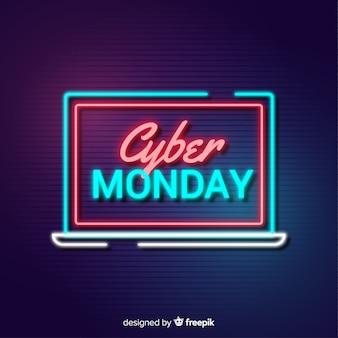 Cartel de cyber monday en pantalla de ordenador