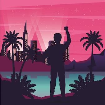 Cartel de cyber punk con hombre en silueta de paisaje