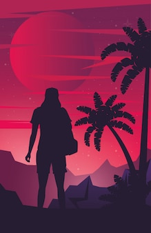 Cartel de cyber punk con mujer en silueta de paisaje