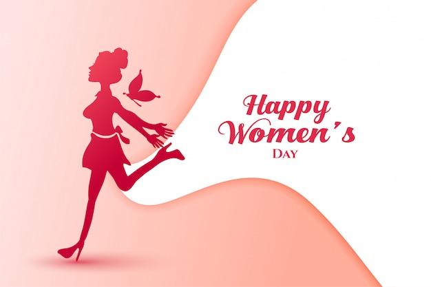 Cartel de dama de alegría para el feliz día de la mujer