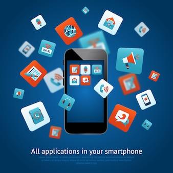 Cartel de aplicaciones de teléfonos inteligentes