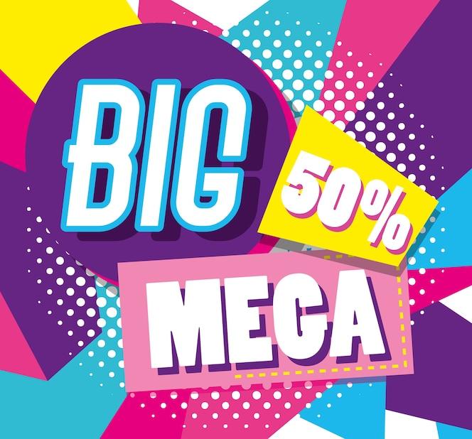 Cartel de compras coloridas de los descuentos de la venta mega