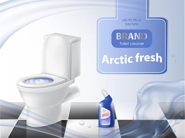 Cartel de detergente, concepto de limpieza, inodoro realista, desinfectante líquido
