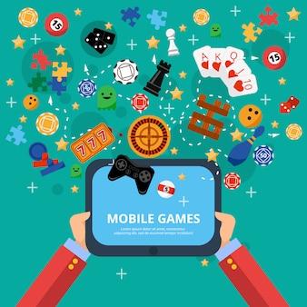 Cartel de entretenimiento de juegos móviles