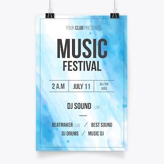 Cartel de festival de música en diseño de acuarela