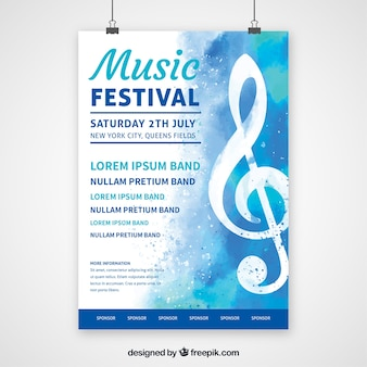 Cartel de festival de música en estilo plano