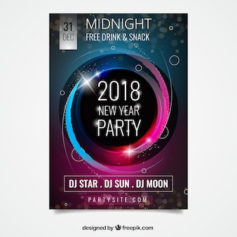 Cartel de fiesta abstracto para año nuevo con elementos rosados y azules