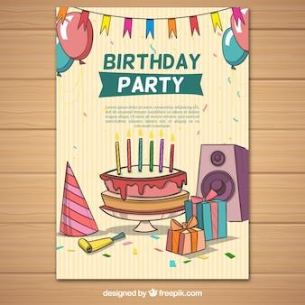 Cartel de fiesta con elementos de cumpleaños